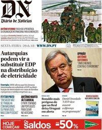 capa Diário de Notícias de 29 junho 2018