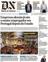capa Diário de Notícias de 30 maio 2018