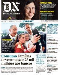 capa Diário de Notícias de 31 janeiro 2018