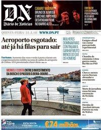 capa Diário de Notícias de 31 maio 2018