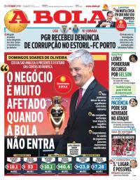 capa Jornal A Bola de 1 março 2018