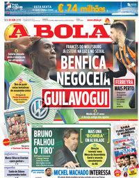 capa Jornal A Bola de 1 junho 2018
