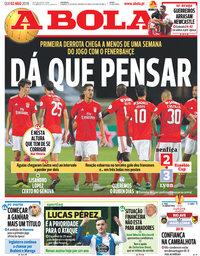 capa Jornal A Bola de 2 agosto 2018