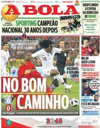 capa Jornal A Bola de 3 junho 2018