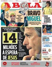 capa Jornal A Bola de 4 junho 2018