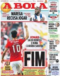 capa Jornal A Bola de 4 agosto 2018