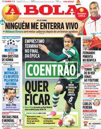capa Jornal A Bola de 6 março 2018