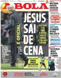 capa Jornal A Bola de 6 junho 2018