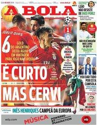 capa Jornal A Bola de 8 agosto 2018