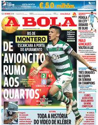 capa Jornal A Bola de 9 março 2018