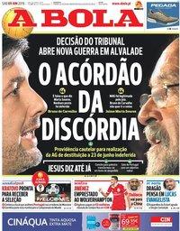 capa Jornal A Bola de 9 junho 2018