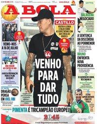 capa Jornal A Bola de 10 junho 2018