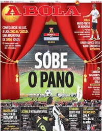 capa Jornal A Bola de 10 agosto 2018