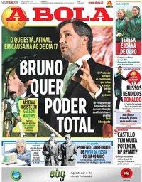 capa Jornal A Bola de 11 junho 2018