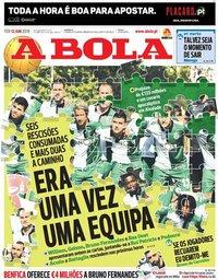 capa Jornal A Bola de 12 junho 2018