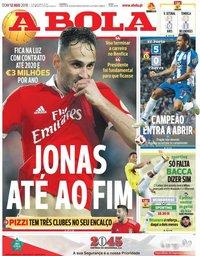 capa Jornal A Bola de 12 agosto 2018