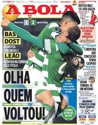 capa Jornal A Bola de 13 março 2018