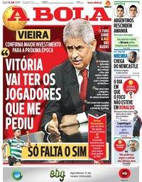capa Jornal A Bola de 13 junho 2018