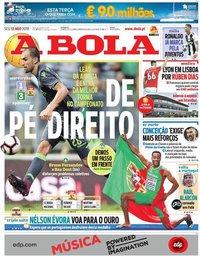 capa Jornal A Bola de 13 agosto 2018