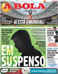 capa Jornal A Bola de 14 junho 2018