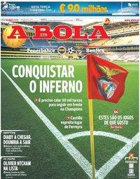 capa Jornal A Bola de 14 agosto 2018