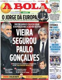 capa Jornal A Bola de 15 março 2018