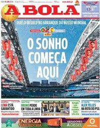 capa Jornal A Bola de 15 junho 2018