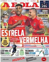 capa Jornal A Bola de 15 agosto 2018