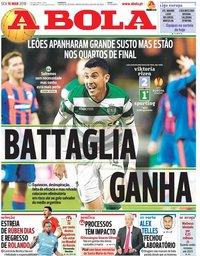 capa Jornal A Bola de 16 março 2018