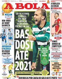 capa Jornal A Bola de 17 março 2018