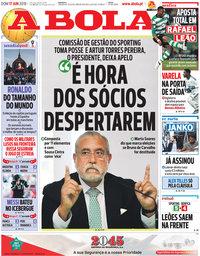 capa Jornal A Bola de 17 junho 2018