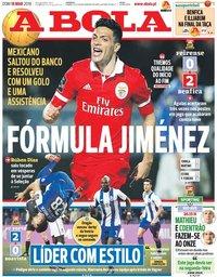 capa Jornal A Bola de 18 março 2018