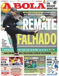 capa Jornal A Bola de 18 agosto 2018