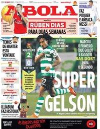 capa Jornal A Bola de 19 março 2018