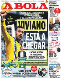 capa Jornal A Bola de 19 junho 2018