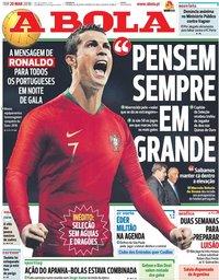 capa Jornal A Bola de 20 março 2018