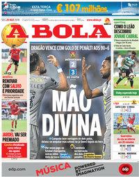 capa Jornal A Bola de 20 agosto 2018