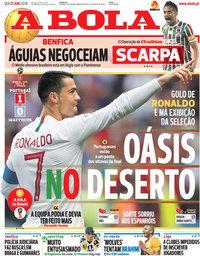 capa Jornal A Bola de 21 junho 2018