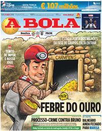 capa Jornal A Bola de 21 agosto 2018