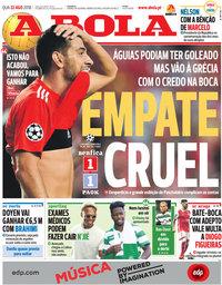 capa Jornal A Bola de 22 agosto 2018