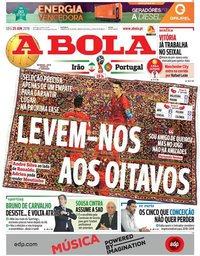 capa Jornal A Bola de 25 junho 2018