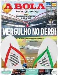 capa Jornal A Bola de 25 agosto 2018