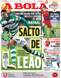 capa Jornal A Bola de 26 março 2018