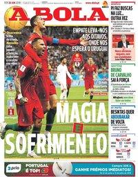 capa Jornal A Bola de 26 junho 2018