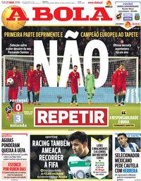 capa Jornal A Bola de 27 março 2018