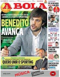 capa Jornal A Bola de 27 junho 2018