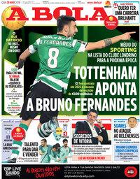 capa Jornal A Bola de 28 março 2018