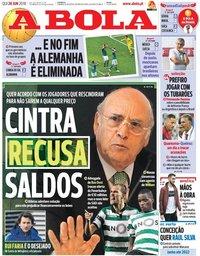 capa Jornal A Bola de 28 junho 2018