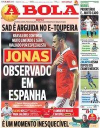 capa Jornal A Bola de 28 agosto 2018