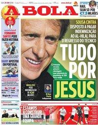 capa Jornal A Bola de 29 junho 2018
